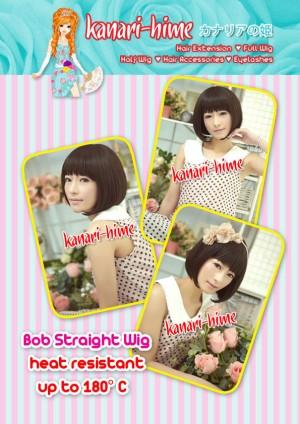 Kanari Hime Short Wig (Bob Style) Color: BLACK, DARK BROWN, MEDIUM BROWN
