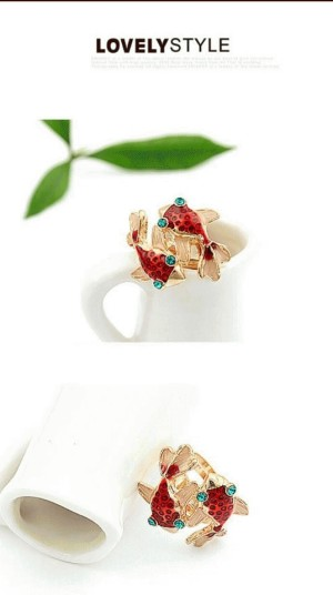 Korean classic fashion two small goldfish pattern decorated with colour rhinestones ring