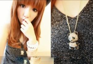 Korean Vogue Cute Decorated With Rhinestones Panda Long Design Necklace