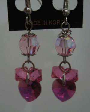 Anting - Body heart Fuchsia