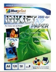 Blueprint Inkjet Paper (BP-IPA4120) - A4, 50 Sheet, 120 Gsm, Cast Coating, Extra White, Water Resistant