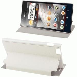 Lenovo K900 Flip Case Cover Kulit Domba XHS dengan Fungsi Sleep / Wake Up dan Penyangga [Putih]