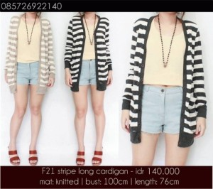 f21 stripe long cardigan