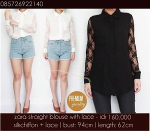 zara straight blouse with lace