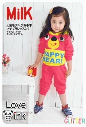 2pc hoodie happy bear pink