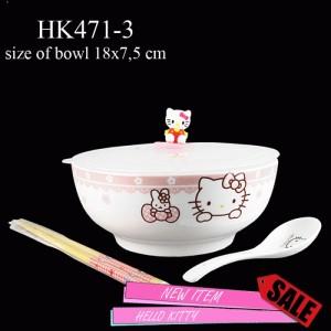 HK471-3Mangkuk tutup rubber 3D hello kitty