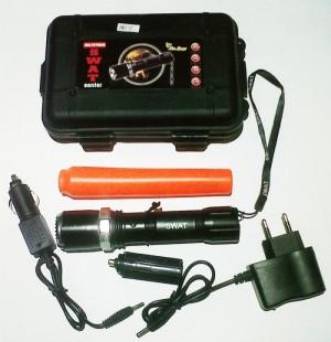 Senter Police SWAT  pemecah kaca  + Hardcase (box Plastik)