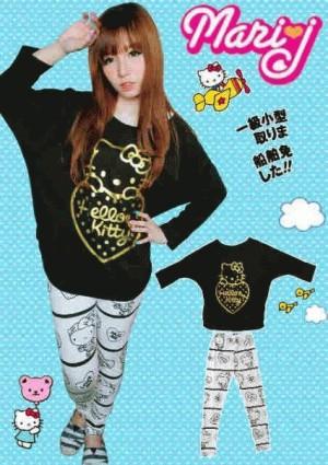 2pcs Batwing Kitty Foil Love + Legging Print