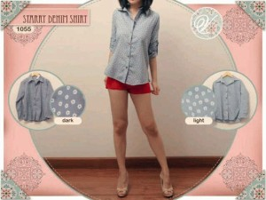 Kemeja #1055-C7 Starry Denim Shirt  seri 4pcs (2wrn) hrg @55rb  bhn katun denim fit to L