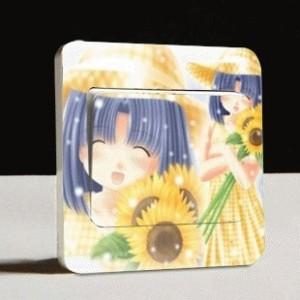 Stiker Tombol Lampu Motif Gadis Jepang Dengan Bunga Matahari