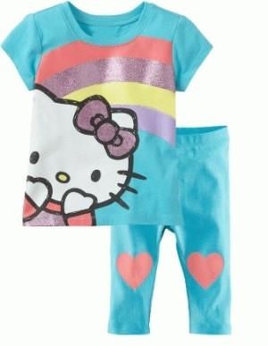 Baju setelan anak perempuan GOP HK Hello Kitty rainbow biru