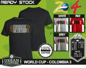 Kaos PIALA DUNIA Disain WORLD CUP - COLOMBIA 3