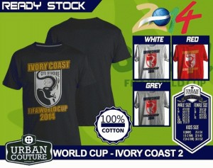 Kaos PIALA DUNIA Disain WORLD CUP - IVORY COAST 2