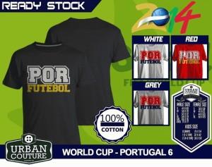 Kaos PIALA DUNIA Disain WORLD CUP - PORTUGAL 6