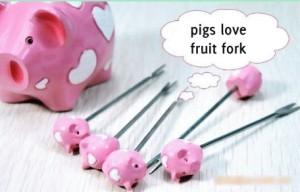 Barang Unik - Pelengkap Rumah - PIG Bear Fruit Fork