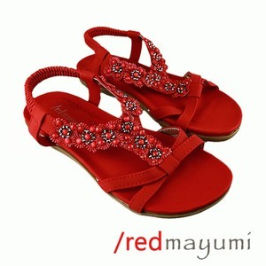 Sandal sunflower with lace Red SA002-3