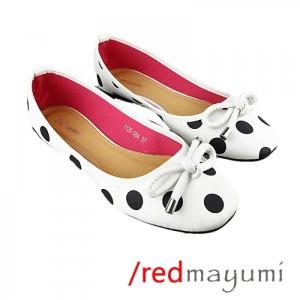 Flat shoes big polkaWhite black dot SH001-1