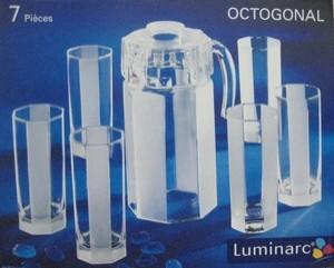 Luminarc Octogonal Kan Set,mug, gelas, teko, botol minum, canister air, dispenser kaca beling