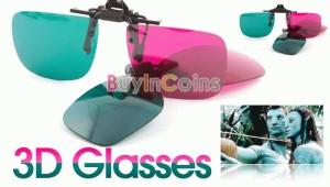 Kacamata 3D Polycarbonate Clip On Green/Magenta