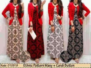 Pattern ethnic maxi+cardi button