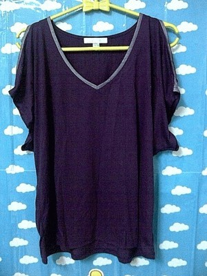 Purple Cut-Off Sleeve Loose Shirt