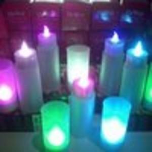 lampu lilin slim menyala 7 warna tiup tepuk