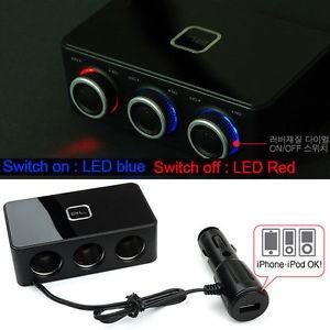 Socket Lighter mobil, 4 in 1 + USB merk Black Label