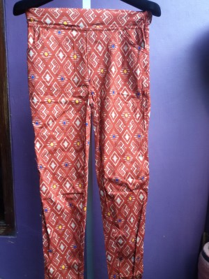 Orange-red diamonds cotton pant