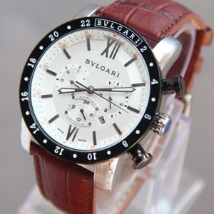 Jam Tangan - Bvlgari Diagono White Leather Brown