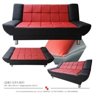 Jual Sofa Bed Quilt Hitam Merah Rumah Tangga 3ku35