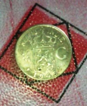 Koin Nederland Indie 1945 1/4 Gulden