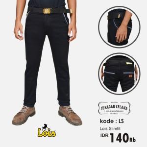 Celana Jeans Lois Slimfit Pria Panjang (Hitam)