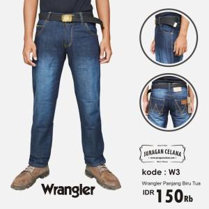 Celana Jeans Wrangler Pria Panjang (Biru Tua)