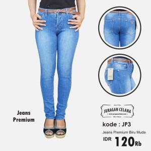 Celana Jeans Premium Wanita (Biru Muda)