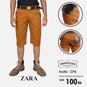 Chino Premium Zaraman Pendek (Gold Brown)