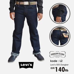 Celana Jeans Levis 505 Standar/Regular Pria Panjang (Biru Dongker)