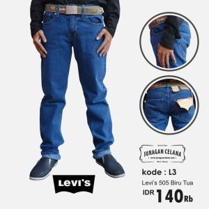 Celana Jeans Levis 505 Standar/Regular Pria Panjang (Biru Tua)