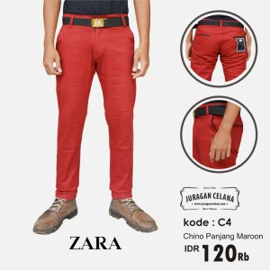 Chino Premium Zaraman Panjang (Merah Marun)