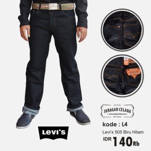 Celana Jeans Levis 505 Standar/Regular Pria Panjang (Biru  Hitam)