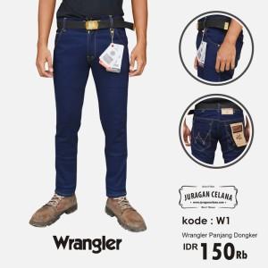 Celana Jeans Wrangler Pria Panjang (Biru Dongker)