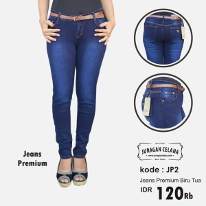 Celana Jeans Premium Wanita (Biru Tua)