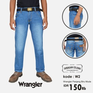 Celana Jeans Wrangler Pria Panjang (Biru Muda)