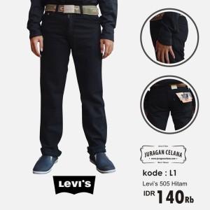 Celana Jeans Levis 505 Standar/Regular Pria Panjang (Hitam)