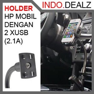 CAR GOOSENECK HANDPHONE HOLDER DENGAN 2 USB (2.1A) CIGARETTE SOCKET