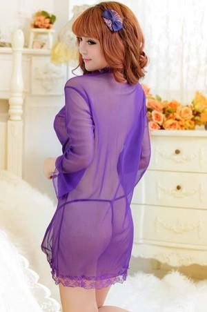 Jual Baju Tidur Kimono Ungu Transparan Tembus Pandang