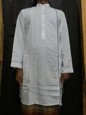 Jual baju muslim koko gamis pria putih salur thammie Jual baju gamis untuk pria