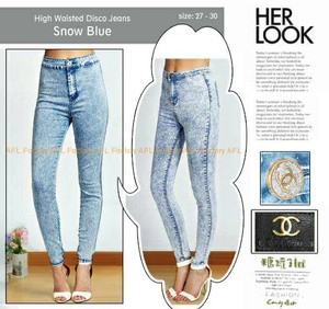 harga high waist disco jeans snow blue Tokopedia.com