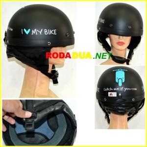 harga Helm Catok Hitam Doff Motif I love My Bike Tokopedia.com
