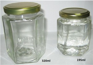 Botol Jar Toples Selai Kaca : 320ml Segienam (Hexagon), Tutup Seng / Glass Bottle : 320ml  6-side (Hexagon), Metal Cover