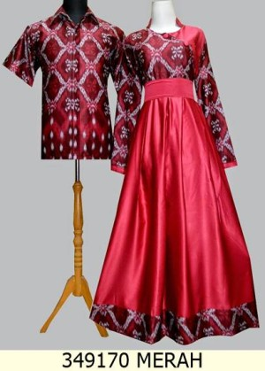 Jual 349170 Merah Baju Gamis Sarimbit Batik Solo Baju